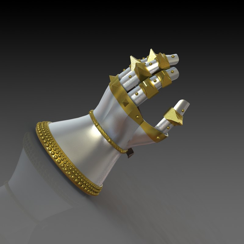 3D gauntlets hourglass 14th century
