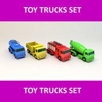 3D toy trucks set