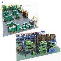 storage rack boxes 3D model