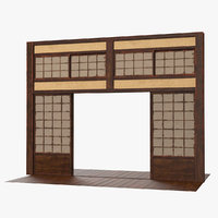3D japanese sliding door japan