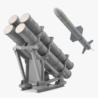 MK 141 Missile Launching System With AGM 84 Harpoon Missile 3D Model