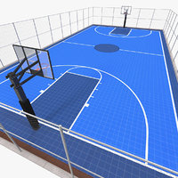 3D outdoor basketball court baskets