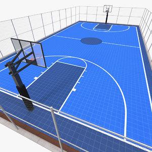 3D outdoor basketball court baskets