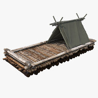 3D model wooden log raft hut