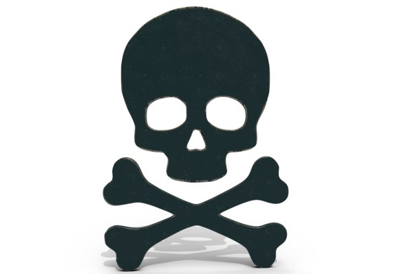 skull crossed bones logo 3D