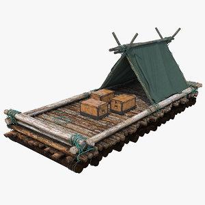 3D model timber raft