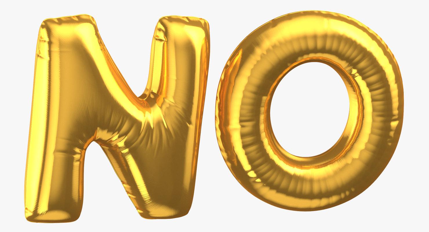 golden foil balloons words 3D model