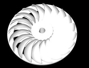 3D hydroelectric turgo turbine