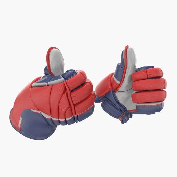 hockey gloves thumb pose 3D model