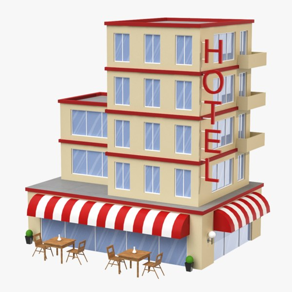 cartoon hotel 3D model