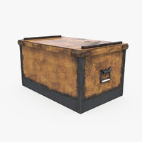 Wooden Storage Box 3D Model