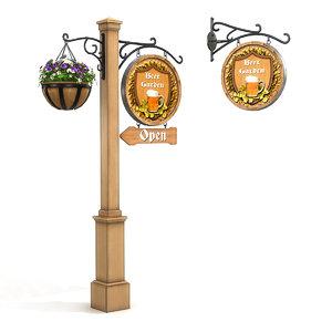 3D beer garden sign