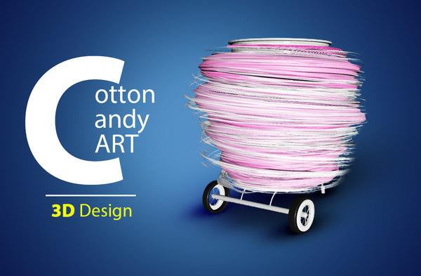 cotton candy cart 3D