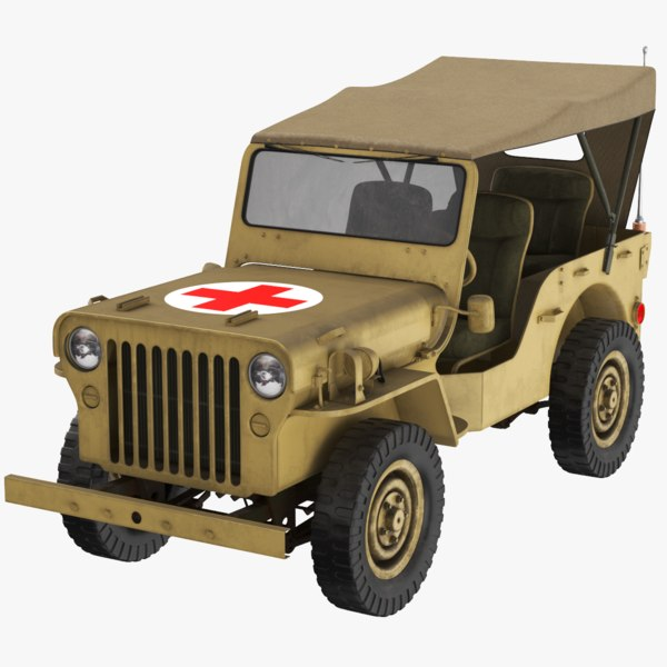 3D real willys army jeep model