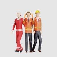 3D men people pack