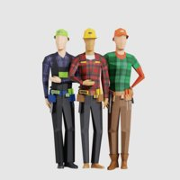 3D men people pack model