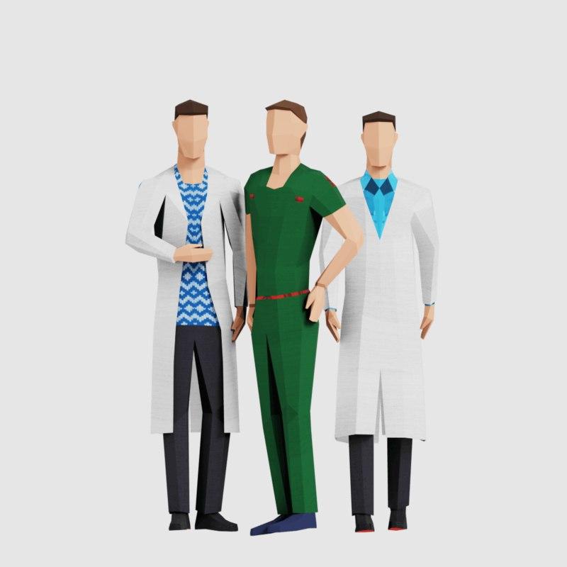 men people pack 3D model