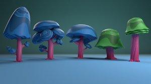 3D model cartoon 5 version tree