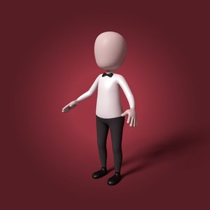 cartoon waiter 3D