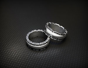 fashion silver ring patterns 3D model