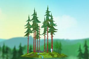 3D cartoon spruce