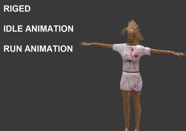 3D monster woman human model