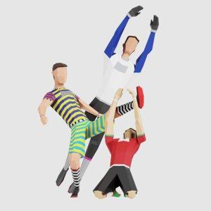 3D model soccer men