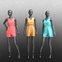 posed female mannequins jumpsuit 3D