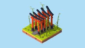 cartoon fushimi inari-taisha shrine 3D