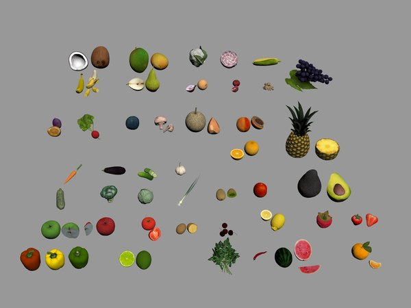 3D model fruits vegetables