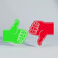3D sample dislike foam finger model