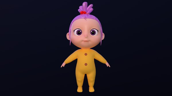 character baby girl rig 3D model
