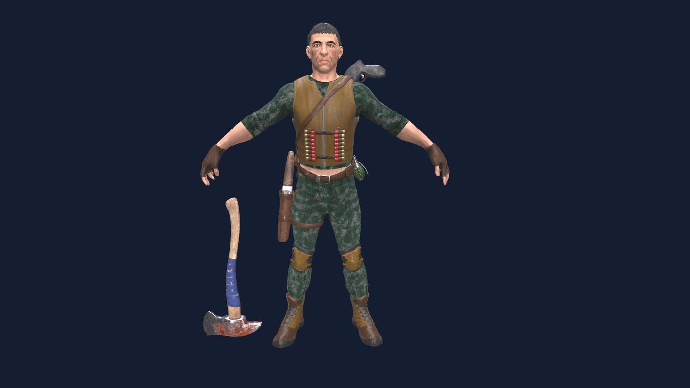 3D man shotgun model