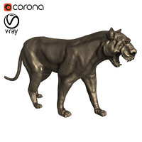 3D black panther statue