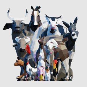 3D animals horse bull