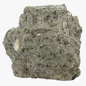broken concrete piece 07 3D
