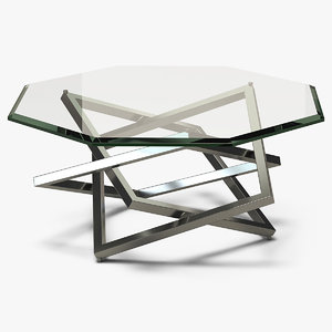 3D model octagon coffee table metal