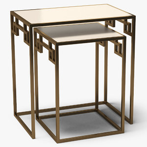 3D model square end tables metal