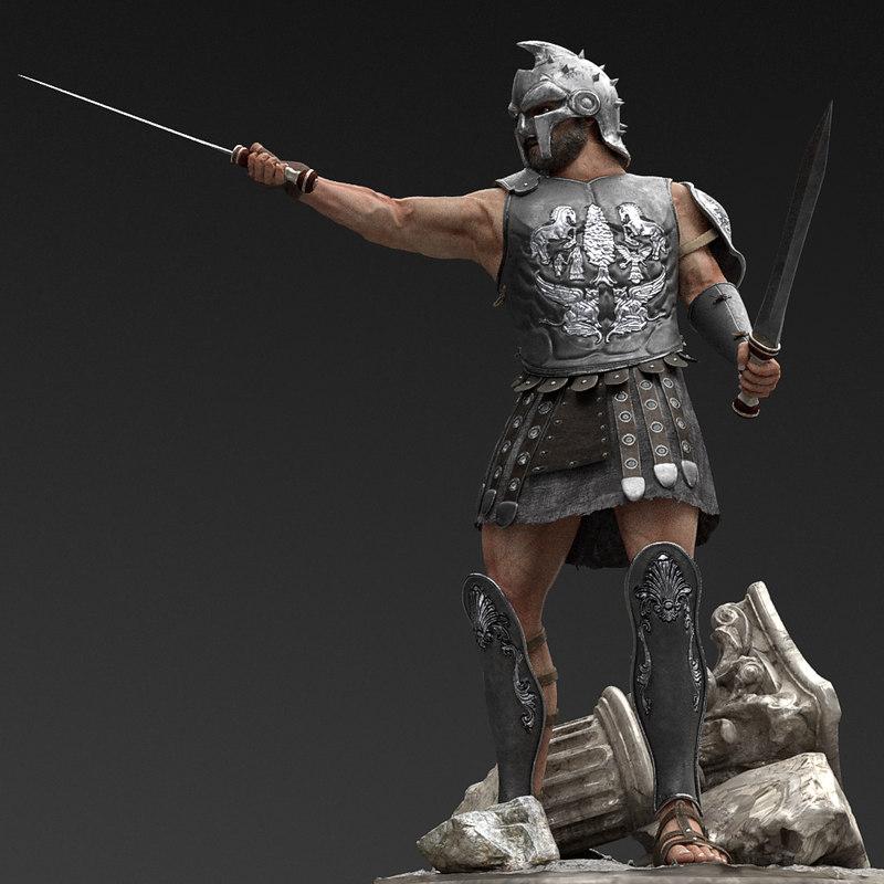 3D roman gladiator character maximus