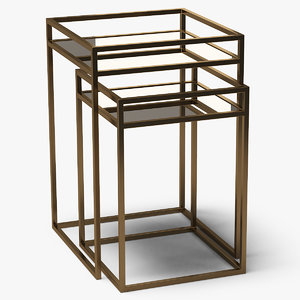 square end tables metal 3D