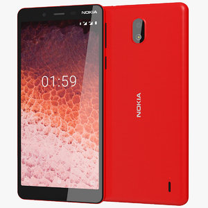realistic nokia 1 red 3D model