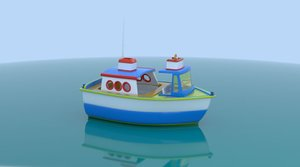 3D cartoon boat model