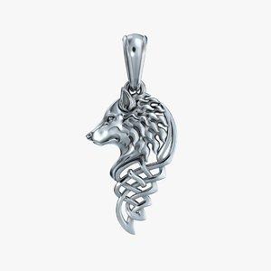 pendant wolf 3D model