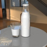 3D milk bottle scene model