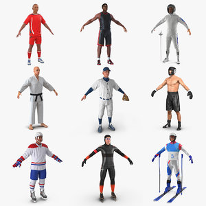 3D athletes soccer player model
