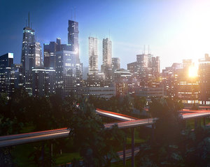 freeway city environment road 3D