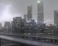 3D freeway city sky buildings model