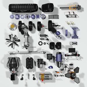 parts cars steampunk 3D model