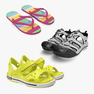 3D model sandals flip flop