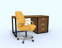 Yellow office chair with table